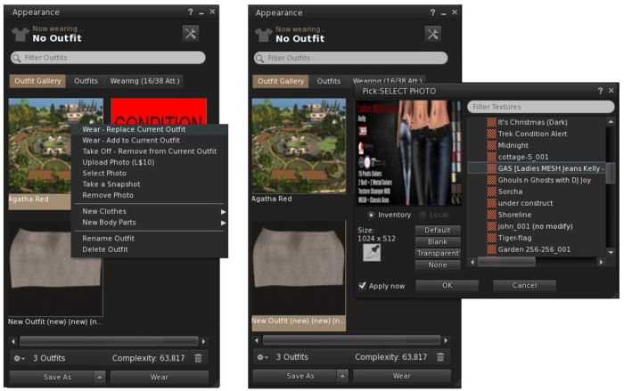The Visual Outfits Browser (VOB) allows you to browse your outfits in the Outfits folder be associating a snapshot with them which can be uploaded directly, or pulled from inventory (256x256). You can also wear or remove outfits through the VOB