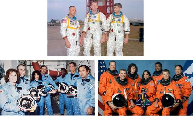 "Remembering; Apollo 1 (top): Virgil ""Gus"" Grissom, Edward H. White II, and Roger B. Chaffee; STS-51l (Challenger - left): Sharon Christa McAuliffe, Gregory Jarvis, Judith Resnik, Francis ""Dick"" Scobee, Ronald McNair, Michael J. Smith and Ellison Onizuka; STS-107 (Columbia, right): David M. Brown, Rick Husband, Lauren Blair Salton Clark, Kalpana Chawla, Michael Anderson, William McCool, and Ilan Ramon. All images credit: NASA"