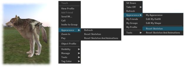 "The reset skeleton options should ""fix"" your own or other avatars which appear distorted in your view after changing looks / shape – note both options only affect your view of the avatar in question, it does not affect how others may see the same avatar"