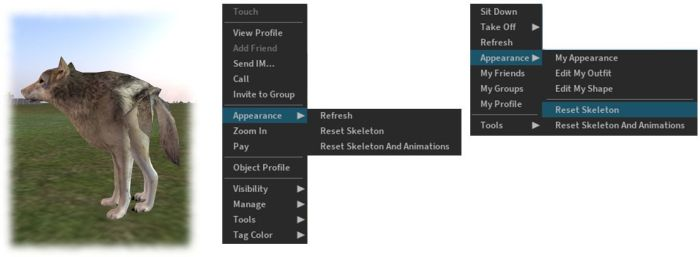 """The reset skeleton options should """"fix"""" your own or other avatars which appear distorted in your view after changing looks / shape – note both options only affect your view of the avatar in question, it does not affect how others may see the same avatar"""