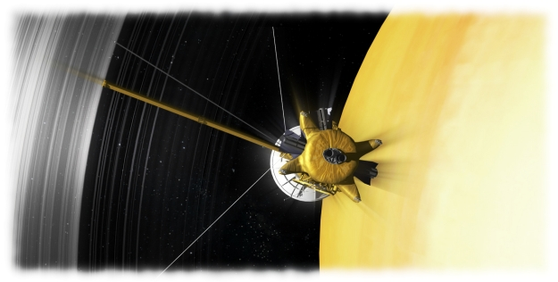 Artist's concept of Cassini's final orbits between the innermost rings and Saturn's cloud tops (see below). Credit: NASA