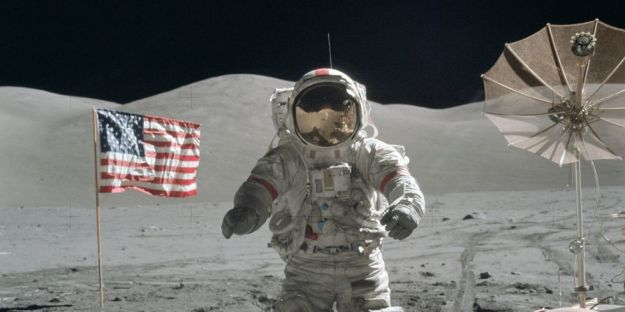 "Eugene Andrew ""Gene"" Cernan, Commander, Apollo 17, in the Taurus-Littrow valley, December 1972"