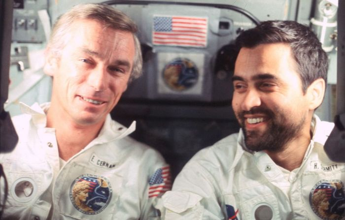 Cernan (l) and Schmitt aboard the Apollo 17 Lunar module. Credit: NASA
