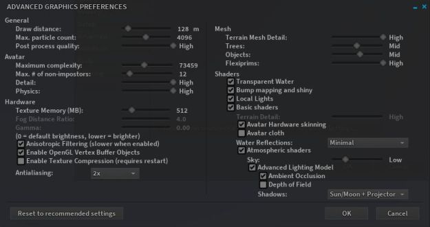 The newer Advanced Graphics Settings floater (accessed via the Advanced Settings.... button in the Preferences > Graphics tab