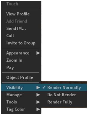 Use the avatar right-click context menu and the Visibility options to select how another avatar is rendered during your current log-in session
