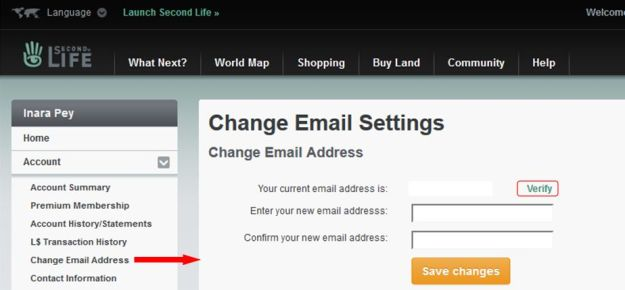 The Verify link will allow you to have your current e-mail address verified