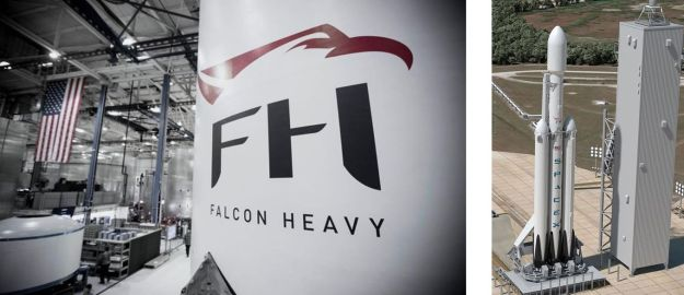 Left: the teaser shot of the interstage ring of the Falcon Heavy, released by SpaceX on December 28th, and right: how the Falcon Heavy will look when ready for launch