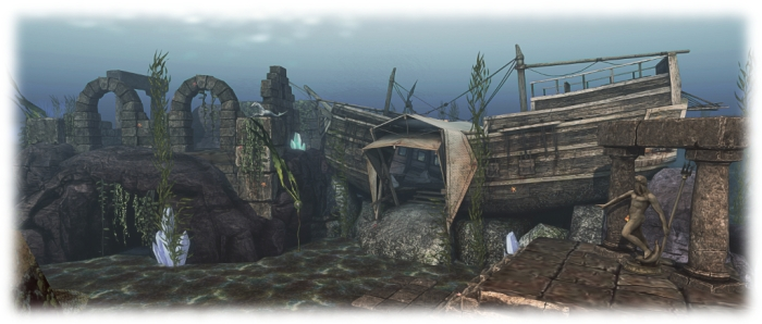 Merhomes around Fanci's Deep take many forms: caves, conventional houses, shells - even the wrecks of sunken ships