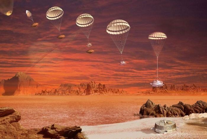 An artist's impression of Huygen's entry, descent and landing on Titan, January 14th, 2005. Credit: ESA