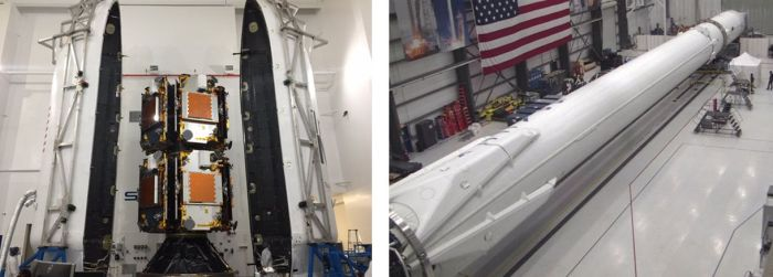 Left: The 10 IridiumNEXT satellites being installed in their payload fairing. Right: the Falcon 9 rocket being assembled by SpaceX. Note the landing legs at the base of the rocket's first stage