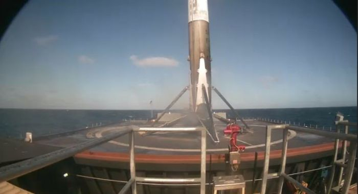 Down and safe: the Falcon 9 first stage, seen via a camera aboard the autonomous drone barge Just Follow The Instructions, shortly after touch-down on January 14th, 2017. Credit: SpaceX