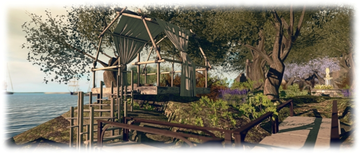The Trompe Loeil Outdoor Hangout makes a nice vantage point to watch passing boats