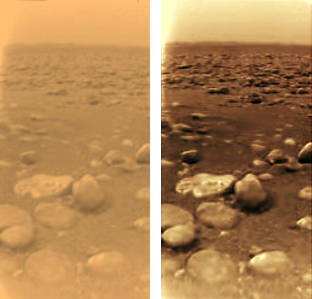 The surface of Titan as seen by Huygens. On the left, under local lighting conditions. On the right, under close to Earth normal daylight conditions. Credit: ESA