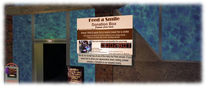 The Feed A Smile kiosk just inside the entrance to Caitinara Bar