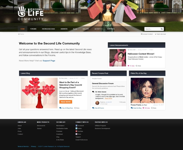 New Second Life Community page layout - note the images and text content are placeholders. Click for full size