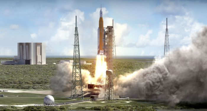 An artist's impression of a Space Launch System / Orion combination lifting off from Kennedy Space Centre's Pad 39B. Credit: NASA