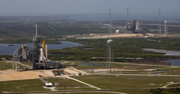 23rd September 2008: the last time two space shuttles simultaneously occupied the launch pads at Space launch Complex 39, Kennedy Space Centre. In the foreground, the Atlantis is being readied for launch on Pad 39A for STS-125, the final scheduled Hubble Space Telescope servicing mission. In the distance, at Pad 39B Endeavour sits in readiness and a rescue back-up should any issues occur with Atlantis when on-orbit. As STS-125 took place successfully, the Endeavour was rolled back from Pad 39B, refitted for it's scheduled mission (STS-126) to the International Space Station