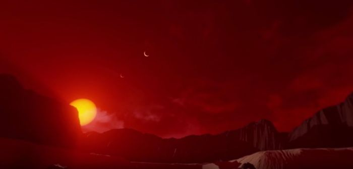 An artist's impression of the sky from the outermost of the three TRAPPIST exoplanets in the star's habitable zone (see the 360-video below)