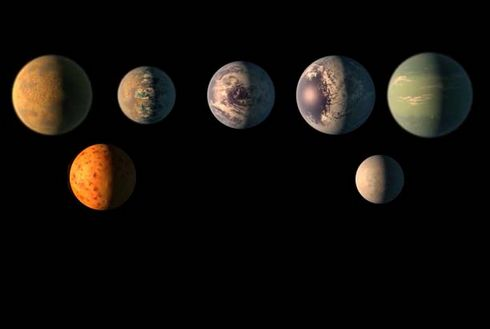An artist's impression of the seven TRAPPIST planets, with -1b lower left and -1h lower right. The three planets in the star's habitable zone, -!e, -1f and -1g are the right-hand three in the top row. Credit: NASA