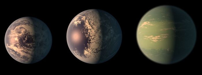 Artist's impression of the three planets in TRAPPIST-1's habitable zone and to scale relative to one another. -1e (l) is the most likely to have extensive liquid water. It is 92% as big as Earth, with a mass of 62% that of Earth. It orbits its parent star about 10.8 times the distance from Earth to the Moon. -1f (c) is 1.04 times the size of Earth, but with only 62% of its mass. It is potentially water rich, and gets as much light from its star as Mars does from the Sun. -1g (r) is the outermost of the three