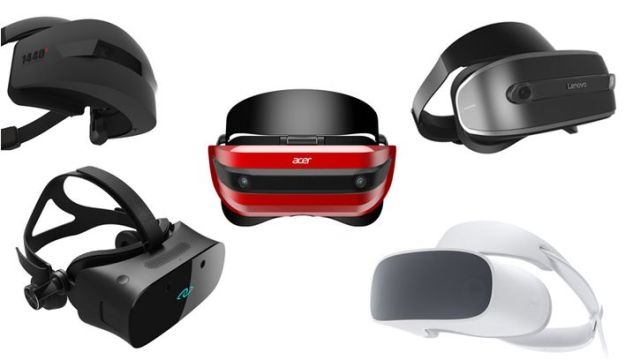Acer's headset (centre) is one of five being developed in support of Microsoft's Windows Mixed Reality. The others will be supplied by Asus, Dell, HP and Lenovo