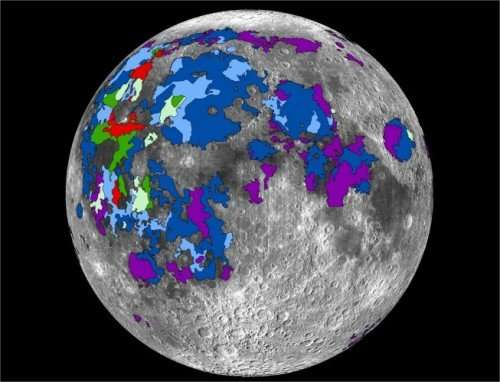 Map of basaltic lavas that emitted gases on the lunar nearside. Credit: Debra Needham