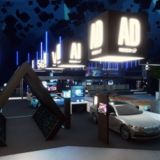 The Intel CES booth at the 2018 Consumer Electronics Show in Las Vegas, recreated in Sansar as a part of the show