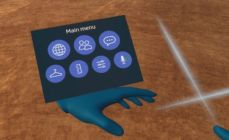 The new UI buttons as they appear in Sansar's VR mode. Credit: Linden Lab